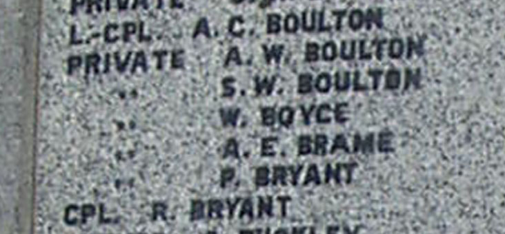 Close up of Cpl R Bryant's name