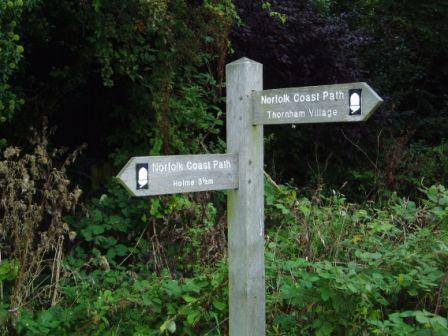 Norfolk Coast Path Sign on the way into Thornham