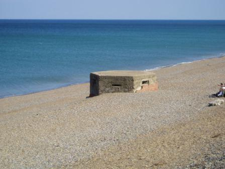 Pillbox on the shingle bank