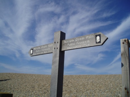 The Norfolk Coastal Path Sign at Weybourne Norfolk